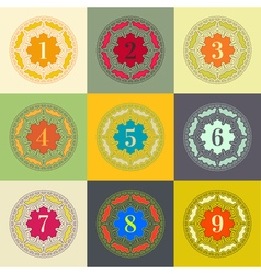 Numbers set Colorful Frames in Linear Style vector image