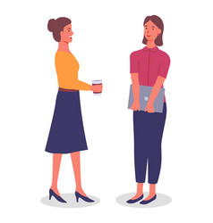 office workers women communicate drink coffee vector image
