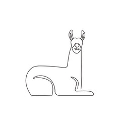 One single line drawing cute llama for company vector
