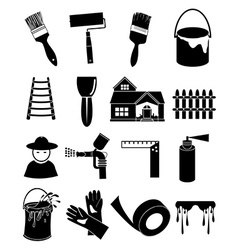 Paint worker icons set vector