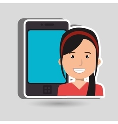 Person with smartphone isolated icon design vector