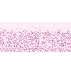 Pink flowers lineart horizontal seamless pattern vector image