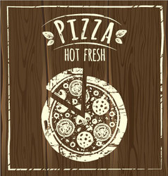 pizza poster wood vector image