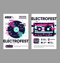 posters set with vinyl record and audio cassette vector image