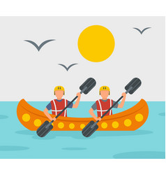 Rafting adventure background flat style vector