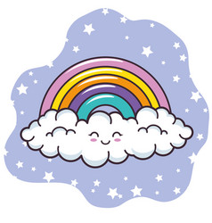 Rainbow and cloud design vector
