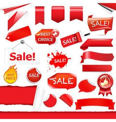 Red Labels And Ribbons Set vector image