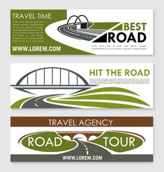 Road travel company or agency banners set vector