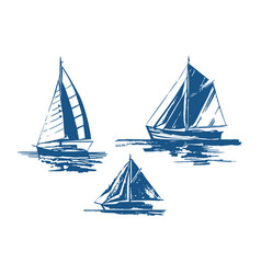 sailing yachts bundle vector image