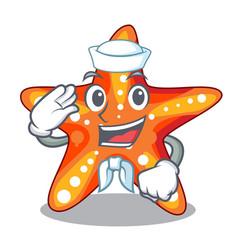 Sailor starfish beside in character beach vector