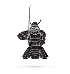 Samurai standing front view ready to fight vector