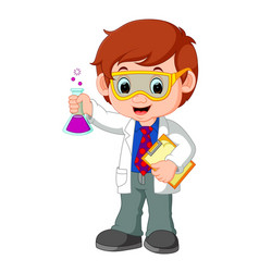 Scientist or professor holding flask vector