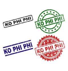 Scratched textured ko phi seal stamps vector