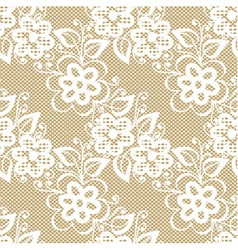 Seamless white lace on beige background vector