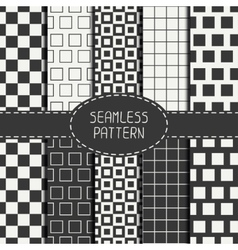Set of geometric monochrome seamless pattern with vector image