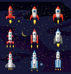 set space rocket spaceship space background vector image