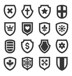 Shield icons set on white background vector