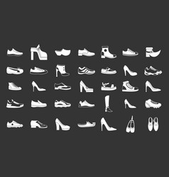 shoes icon set grey vector image