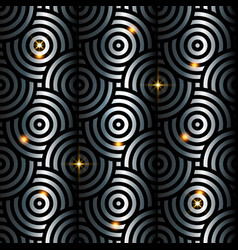 silver intersecting circles pattern japanese style vector image