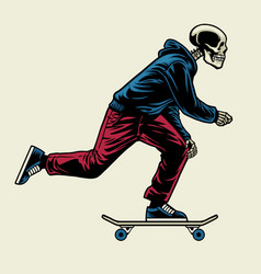 skull enjoying ride skateboard vector image