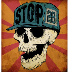 Skull wearing cap vector