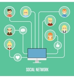 Social network banner with connected people vector