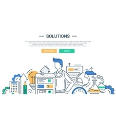 Solutions line flat design banner with male vector