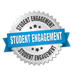 student engagement round isolated silver badge vector image