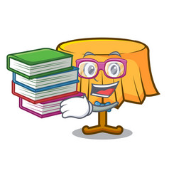 Student with book table cloth mascot cartoon vector