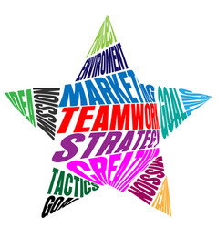 teamwork words and meaning in a star shape vector image