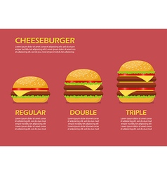 Three hamburgers set infographic vector