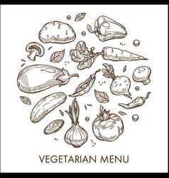 Vegetarian menu vegetable harvest organic food vector