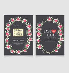 wedding invitation card template floral invite vector image
