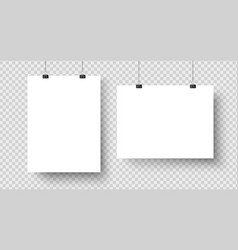 White blank posters hanging on binders a4 paper vector