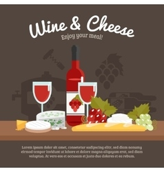 Wine And Cheese Life Still vector image