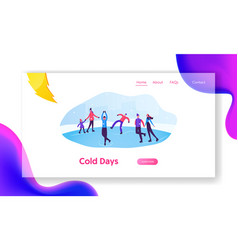 winter activities and sports website landing page vector image