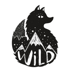 With black fox mountains landscapes inside vector