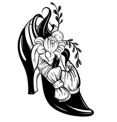 Woman shoe with flowers and bow tattoo artwork in vector