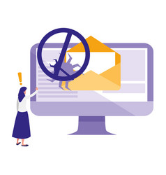Woman using desktop with bug in email vector