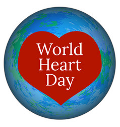 world heart day 29 september planet earth and vector image