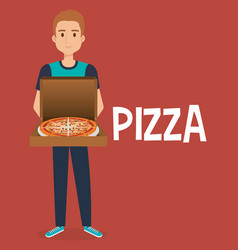 young man with italian pizza vector image