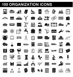 100 organization icons set simple style vector image vector image
