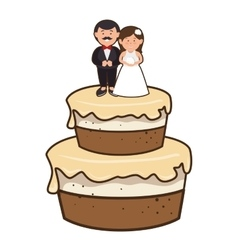 Cake with couple just married character vector