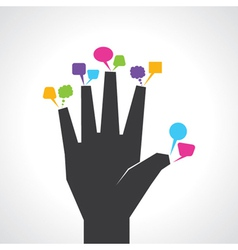 hand with colorful message bubbles vector image vector image
