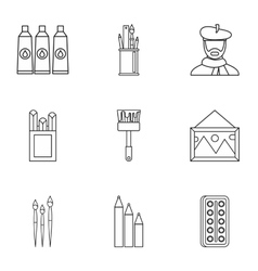 Paint drawing icons set outline style vector