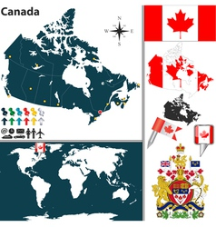 Canada map world vector image vector image