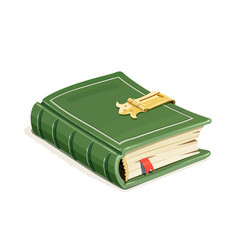 Green vintage book with lock vector