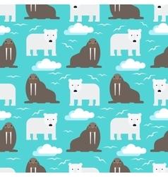 Polar Bear and Walrus Seamless Pattern vector image