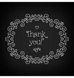 Thank you lettering and frame line art Black vector image