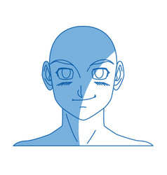Cartoon young guy anime boy character japanese vector